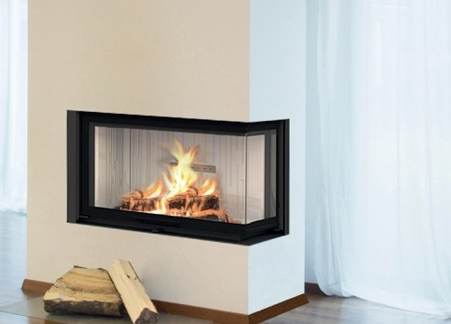 Fireplace inserts AIR - three-sided glass